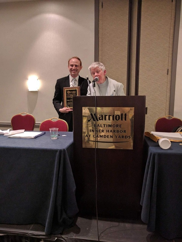 Delegate Jeff Waldstreicher receives the Distinguished Legislative Services Award for sponsoring the Equal Employment Act, which will eliminate paying workers with disabilities less than the minimum wage by 2020.
